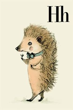H for Hedgehog, Alphabet animal,  Print 4x6 inches. $5,50, via Etsy.