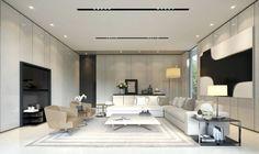 faux plafond moderne, tableau noir et blanc, canapé d'angle design et fauteuils en cuir beige