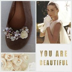 Handmade beige leather ballerina decorated with pearls and rose designed by Elli lyraraki