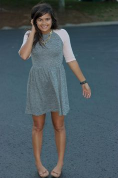 ASOS baseball tee dress, brown Old Navy flats, H&M gold chain necklace