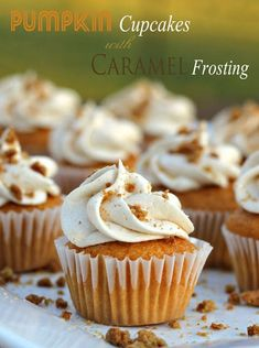 Cracker Barrel Inspired~ Pumpkin Cupcakes with Caramel Frosting and Sprinkled with Gingersnaps Crumbles - Sweet Southern Blue Fall Desserts, Just Desserts, Delicious Desserts, Yummy Food, Sweet Desserts, Pumpkin Cupcakes, Pumpkin Dessert, Pumpkin Cookies, Mini Cakes