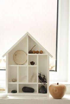 white house shaped shadow box