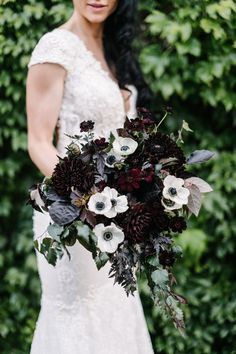 Play up your event's moody color palette with a deep burgundy dahlia arrangement—believe us, no one will see florals this dark coming (pair them with bright white anemones to enhance their depth! Max Gill Design created this spray. Poppy Wedding Bouquets, Poppy Bouquet, Anemone Bouquet, Wedding Flower Guide, Wedding Flowers, Wedding Ideas, Wedding Themes, Boquet, Flower Bouquets