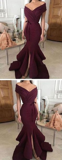 Off Shoulder Prom Dress,Sexy Prom Dress, Burgundy Prom