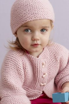Ravelry: Strawberry Pink Sideways Cardigan and Hat (Cardigan) pattern by Lion Brand Yarn Baby Knitting Patterns, Love Knitting, Baby Cardigan Knitting Pattern, Knitting For Kids, Baby Patterns, Knitting Yarn, Sweater Patterns, Hoodie Pattern, Crochet Cardigan