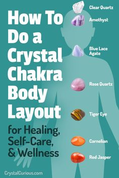How to Do a Crystal Chakra Body Layout for Wellness + Healing. I recommend this for beginners as well as people who have been working with crystals for a while. Read spiritual articles & guides to crystal healing, positive energy, & wisdom for Meditation Crystals, Chakra Meditation, Meditation Music, Meditating With Crystals, Spiritual Meditation, Holistic Healing, Natural Healing, Natural Oils, Healing Crystals