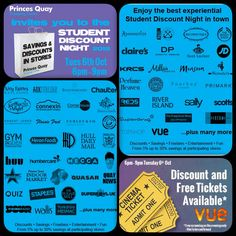 A fantastic #Student Discount Night at Princes Quay Shopping Centre in Hull. Offers, freebies, fun and entertainment all under one roof. Tuesday 6th October. Confirm attendance http://on.fb.me/1JiQxrz
