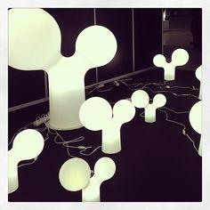 Snapshots from Helsinki Design Week  Double Bubble floor lamps by Eero Aarnio