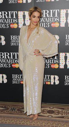 Rita Ora - at the 2013 Brit Award Nominations in Diane Von Furstenburg.