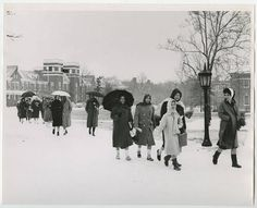 [Trekking Across Campus in the Snow, Early 1960s] :: UNCG University Archives