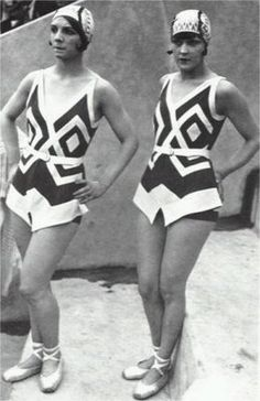 1930s bathing suits-- Swimwear had lines similar to evening wear, and has short like constructions.