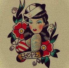 Old school tatto Daddy Tattoos, Pin Up Tattoos, Girl Tattoos, Tatoos, Bodysuit Tattoos, Traditional Tattoo Inspiration, Traditional Tattoo Art, Dean Tattoo, Tattoo Test