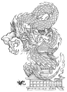 well here are the pencils, actually drawn with a blue pencil, i then desaturated it in photoshop, will post th. Dragon Tattoo Art, Dragon Tattoo For Women, Japanese Dragon Tattoos, Japanese Tattoo Art, Dragon Tattoo Designs, Lion Tattoo, Dragon Art, Dragon Tattoo Oriental, Body Art Tattoos