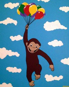 Curious George Painting by bluetomatoart on Etsy, $100.00