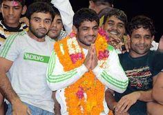 Grand welcome for Olympic medallists Sushil Kumar, Yogeshwar Dutt