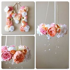 This is a custom listing for flower mobile/floral chandelier and matching 45cm/18 flower letter in any color combination you choose (if you would like 35cm/14 letter, there is another listing in my shop).  This listing is with 10% discount already counted in!  A perfect decor for your little ones room, nursery or childrens room, also can be used in bedroom, or as beautiful accents for photoshooting or wedding. Awesome gift idea to a baby shower or birthday!  US buyers - shippin...