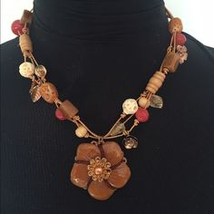 """Selling this """"Beige, brown, and coral necklace."""" in my Poshmark closet! My username is: jacky1990. #shopmycloset #poshmark #fashion #shopping #style #forsale #Jewelry"""