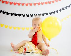 Mickey Mouse First Birthday Cake Smash // Kristeen Marie Photography