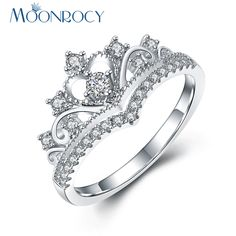 MOONROCY Free Shipping Silver Color Cubic Zirconia Crown Crystal Anniversary Wedding Promise Ring for Women Girls Gift #Affiliate