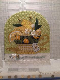 Mary Lake Thompson beautifully stitched needlepoint teacup