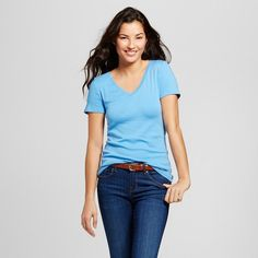 Women's Ultimate V-Neck T-Shirt Azure Blue X - Merona, Size: Small