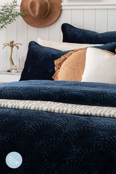 The Navy Quilted Kita Quilk Cover Set will add a warm, cosy vibe to any room. Navy Blue Bedding, Navy Blue Decor, Navy Quilt, Bedroom Themes, Bedroom Styles, Bedroom Decor, Bedding Decor, Bedroom Apartment, Navy Bedrooms