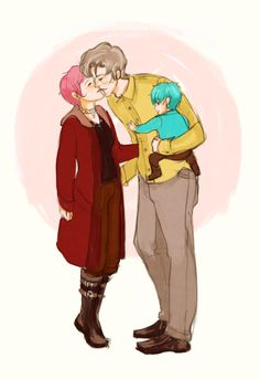 """Auror Nymphadora and Stay At Home Dad Remus. (ノ◕ヮ◕)ノ*:・゚✧ """"Mummy is off to catch Dark Wizards. Teddy, will you keep Dad out of trouble while I'm gone?""""  """"You've found us out. We were going to start with building blocks and picture books in the morning and then move into Unforgiveables after lunch.""""  """"Arresting my husband and infant son will be awkward but I'm duty bound to enforce the law."""""""