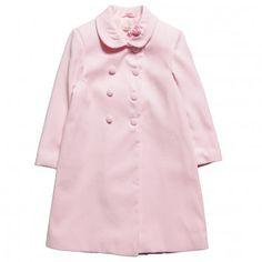 Girls Pink Double-Breasted Velvet Coat