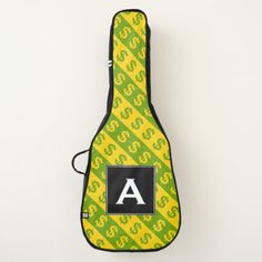 Green & Yellow Dollar Signs ($) Striped Pattern Guitar Case - stripes gifts cyo unique style
