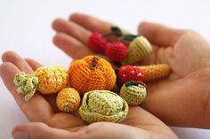Miniature crochet fruits and vegetables
