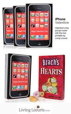 Cute iPhone Valentine! Free Printable by Amy Locurto of LivingLocurto.com #Valentine