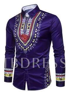 f76818d1a African Fashion Dashiki Lapel African Ethnic Print Luxury Men's Shirt