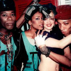 Madonna and her dancers, the 15th anniversary of Fiorucci at Studio 54, 1983. http://www.refinery29.com/2014/07/71511/maripol?utm_source=feed&utm_medium=rss#slide-2