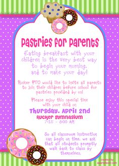 Event Flyer for Pastries for Parents