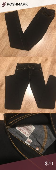 "J BRAND pencil leg jeans 25 Size 25 worn them one time they are a little long for me .color Jett black Approx. inseam: 34"" Approx. rise: front 8""; back 13 1/2"". Narrow through the thigh. Snug fit; will stretch with wear J Brand Jeans Skinny"