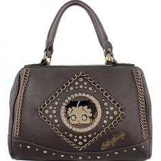 This Official Betty Boop® Rhinestone Studded Handbag with Chain Detail features: - Betty Boop® surrounded in rhinestones and goldtone studs with goldtone Betty Boop® nameplate. - Goldtone chains accen