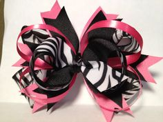 Pink Zebra Stacked Bow by jordanmoon on Etsy, $3.00