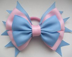 pink blue bow,elastic band,elastic bow,Hair Bow,hair bow,Hair Accessories,bow, pink blue bow elastic band