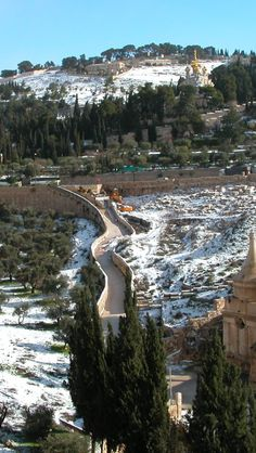 Mount of Olives with snow, land of Israel.