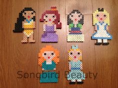 Princesses Set of 6 Perler Beads Geekery magnet por SongbirdBeauty