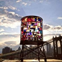Made from colorful salvaged plexiglass and steel, Watertower by Brooklyn artist Tom Fruin literally stands out beautifully.