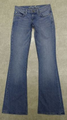 Juicy Couture Jeans Size 24 Low Rise Boot Cut Blue Whiskered Distressed 27x34 #JuicyCouture #BootCut