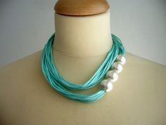 Aqua pearls necklace bridesmaids van stavroula op Etsy, $29.00