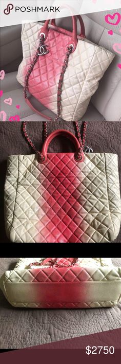1f3b7ee50c0 Auth Chanel Ombré caviar quilted Shopper Tote Chanel caviar ombré shopper  tote. Beautiful yet functional