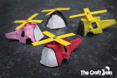 Have an empty egg carton?  How about making a few egg carton helicopters?  The kids will LOVE!