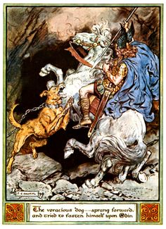 Illustrations from The Heroes of Asgard by C.E. Brock Vegtam (Odin) rides to Hel to learn of Baldur's fate
