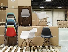 Eames Molded Plastic Chairs, designed by Charles and Ray Eames for Herman Miller. Shot on location at the Herman Miller Factory in Zeeland, Michigan.