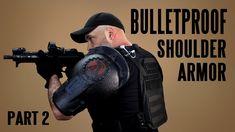 DIY BULLETPROOF Shoulder Armor (part 2) Security Tools, Shoulder Armor, Outdoor Survival, Carbon Fiber, Two By Two, Youtube, Diy, Templates, Stencils