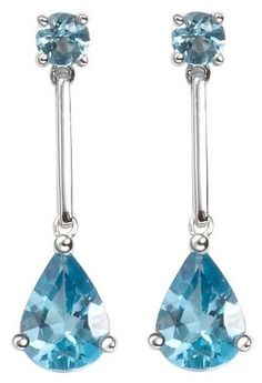 White Gold Tear Shaped blue Topaz Earrings