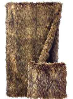 Coyote Faux Fur Pillow and Throw Set -- Great for Decorating - Great for Gift Giving  - Buy at Snugglebug Pillows and Throws www.snugglebugpillowsandthrows.com
